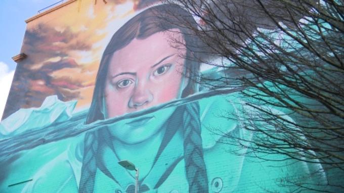 Greta Thumberg Murale a Bristol - dettaglio